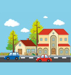 Neighborhood scene with houses and cars vector