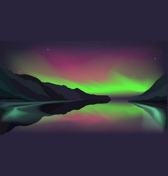 northern lights glowing over a mountain lake eps vector image