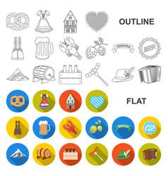 Oktober festival in munich flat icons in set vector