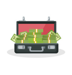 opened briefcase with pile of cash 3d vector image