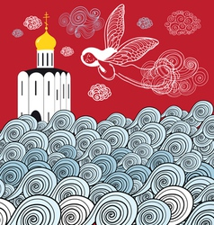 Orthodox church and the river of life vector