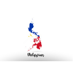 philippines country flag inside map contour vector image