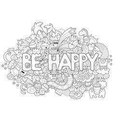 Printable coloring page for adults with cartoon vector