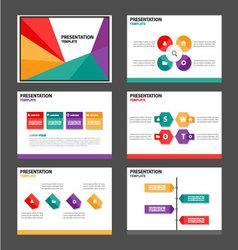 Red green orange purple presentation templates set vector image