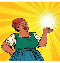 Retro woman African-American gesture promo vector