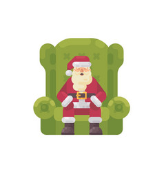 santa claus sitting in a big green armchair vector image