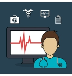 Set doctor laptop services medical isolated vector