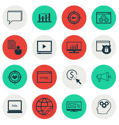 Set of 16 advertising icons includes digital vector