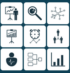 Set of 9 board icons includes report vector