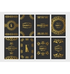 Set of art deco logo frame and monogram golden vector