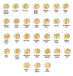 Set of basic symbols of the world currency vector