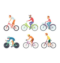 Set of bicycle sportsmen cartoon characters vector
