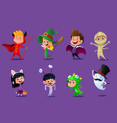 set of cute cartoon children vector image