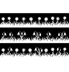 Set seamless silhouette grass and flowers vector image vector image