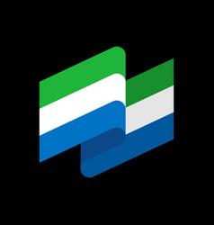 Sierra leone flag ribbon isolated republic tape vector