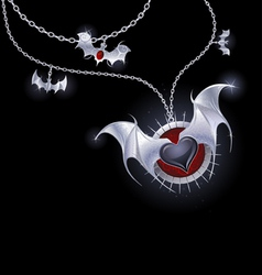 Silver heart of a vampire vector