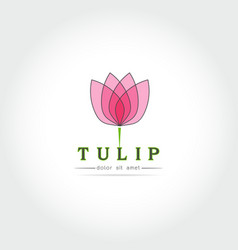 Simple tulip bud with leaves design vector