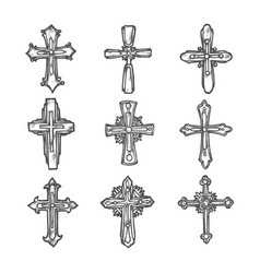 sketch crosses ornate medieval heraldic crucifix vector image
