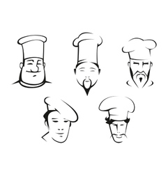 Sketches of chefs heads vector image