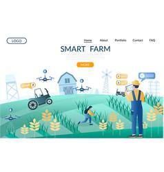 Smart farm website landing page design vector