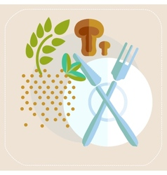 Spices cutlery mushrooms kitchen icon vector