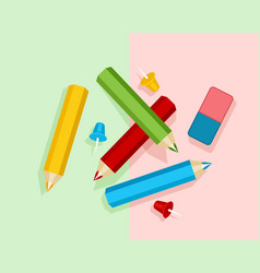 stationery on a colored background vector image