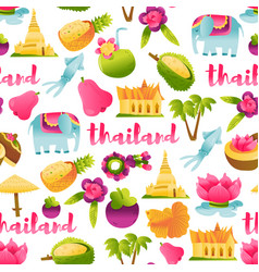 super cute thailand culture seamless pattern vector image