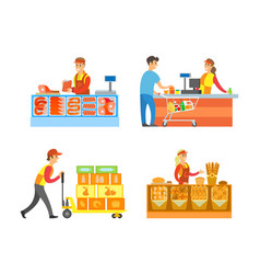 Supermarket stores departments and sellers vector