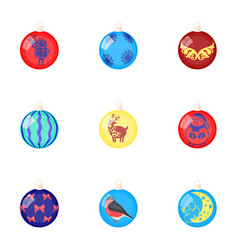 toys for a christmas tree cartoon icons in set vector image