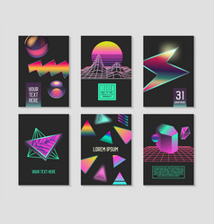 Trendy abstract posters set gradients elements vector