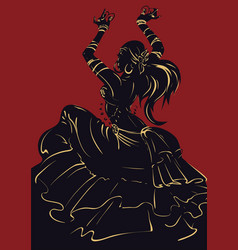 tribal fusion bellydance dancer stencil silhouette vector image