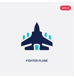 Two color fighter plane icon from army and war vector