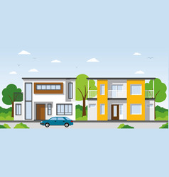 Two modern townhouses in the suburbs vector