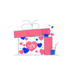 valentines day with hearts and gift box vector image