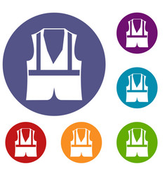 Vest icons set vector