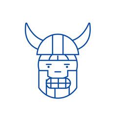 viking emoji line icon concept viking emoji flat vector image