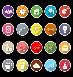 Virtual organization flat icons with long shadow vector