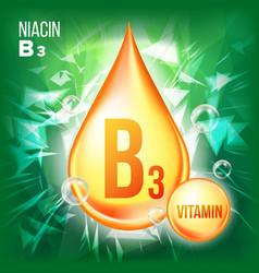 vitamin b3 niacin gold oil drop icon vector image