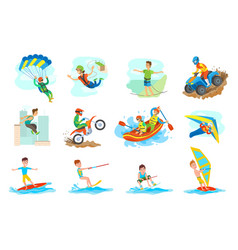 Water fun and extreme sports set people hobby vector