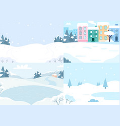 winter landscapes collection snow season vector image