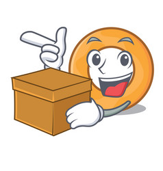 With box onion ring character cartoon vector