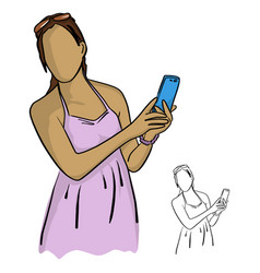 women in pink holding and using mobile phone vector image