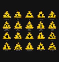 yellow warning symbols triangle signs with danger vector image