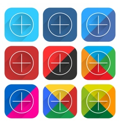 Flat popular social network web icon square button vector image vector image