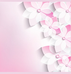 Floral background greeting card 3d flowers sakura vector image vector image
