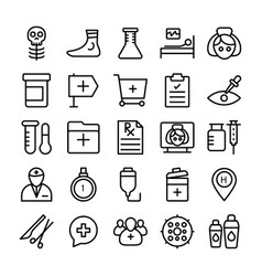 medical health and hospital line icons 8 vector image