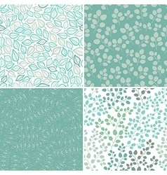 Set of Four Seamless Pattern With Leaf Abstract vector image vector image
