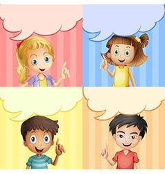 Children with speech bubble templates vector image