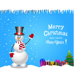 Christmas and new year card with cute snowman in vector