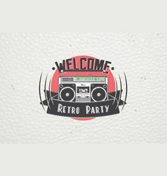 color sticker retro party disco music event at vector image vector image